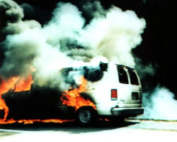 FEA Ford Van on fire.
